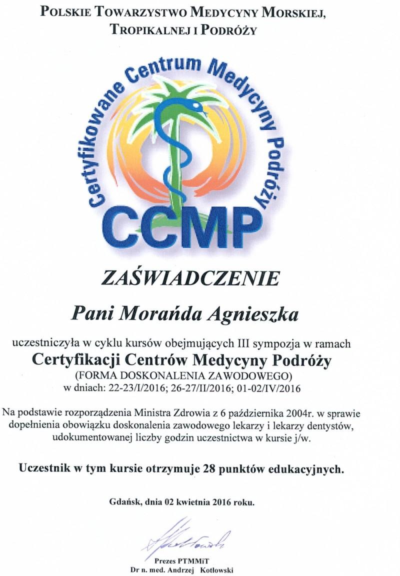 Zaświadczenie - Certyfikowane Centrum Medycyny Podróży 2016