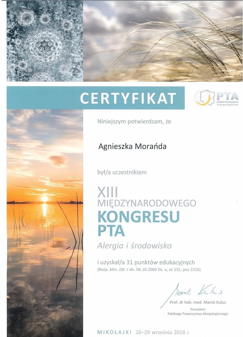 XIII Międzynarodowy Kongres PTA - Alergia i Środowisko
