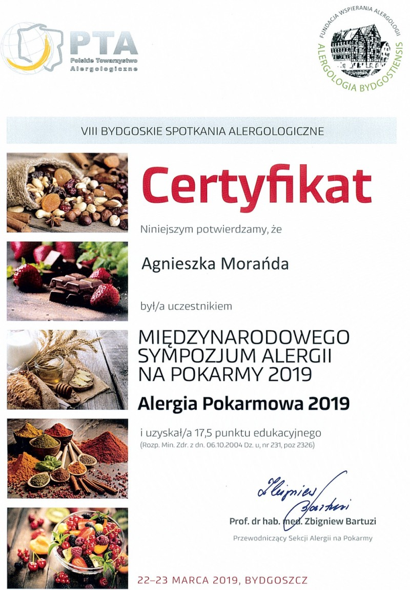 Certyfikat - Alergia pokarmowa 2019