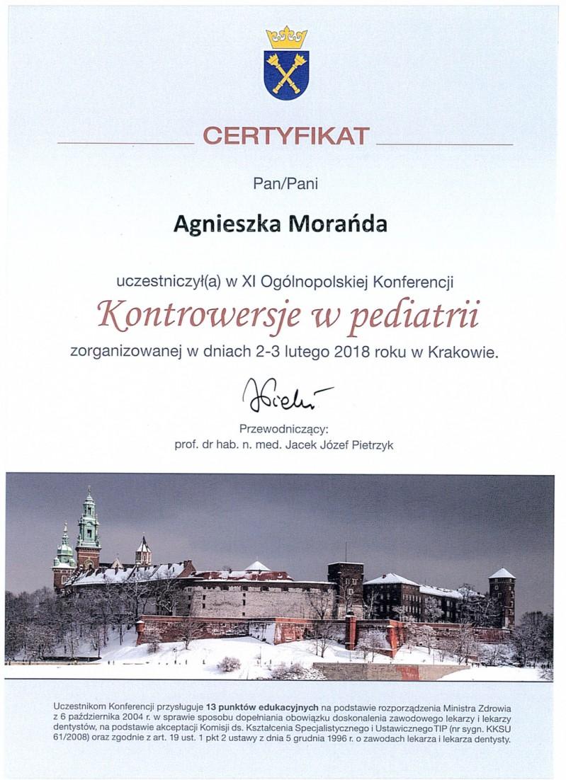 Certyfikat uczestnictwa - kontrowersje w pediatrii