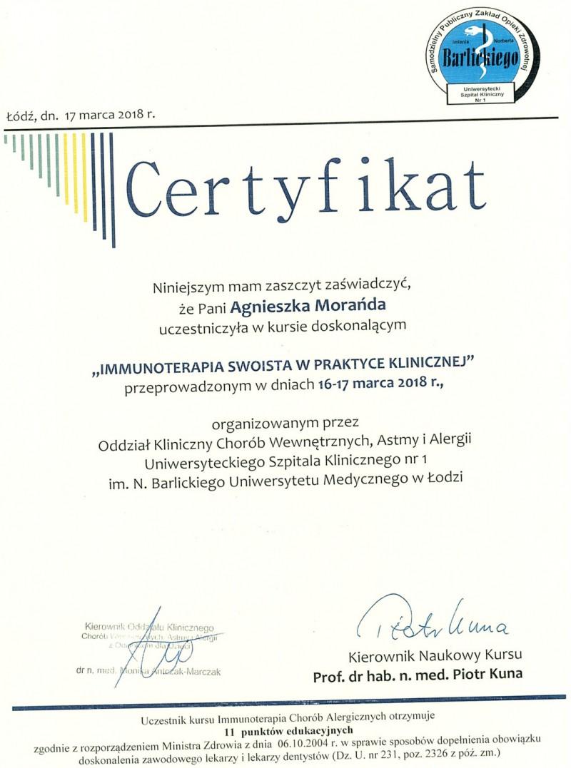 Certyfikat uczestnictwa - Immunoterapia swoista w praktyce klinicznej