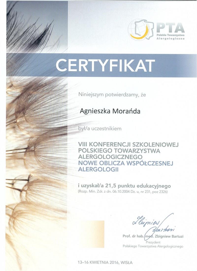 Certyfikat uczestnictwa - Nowe oblicza współczesnej alergologii