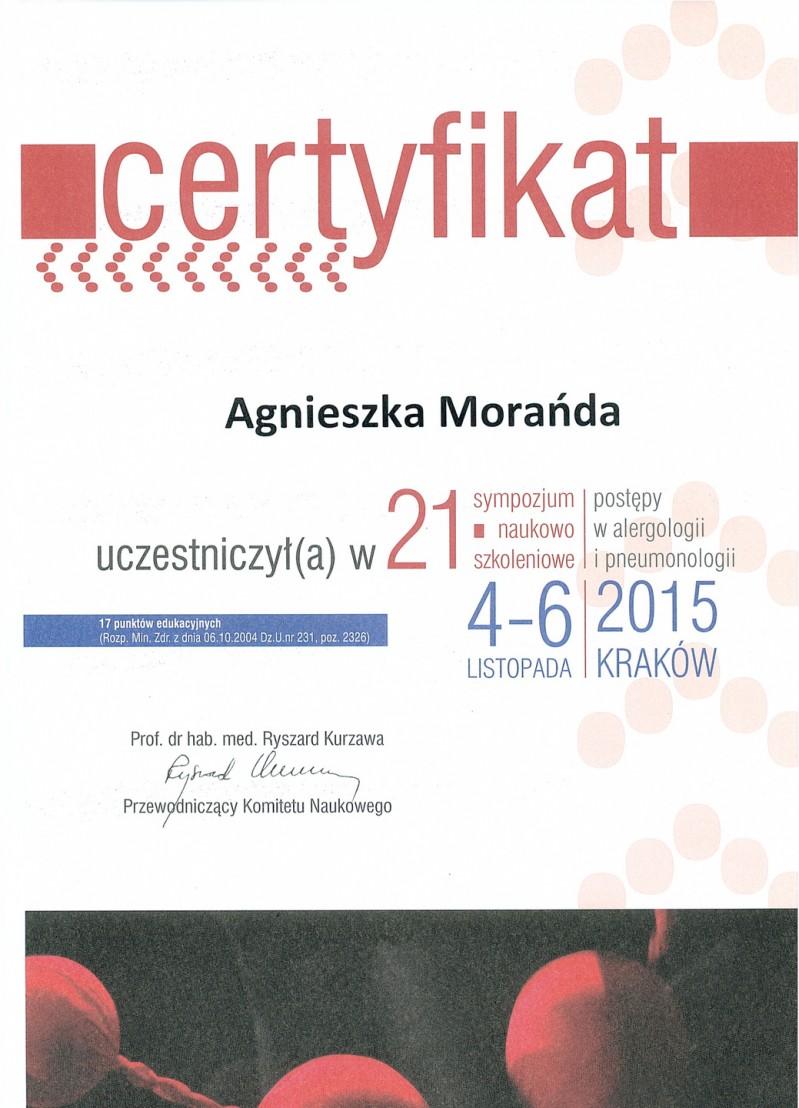 Certyfikat uczestnictwa - Postępy w alergologii i pneumonologii